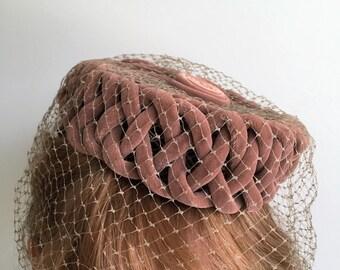 Vintage 1950's Ladies Basketweave Velvet Pillbox Hat Rose Brown