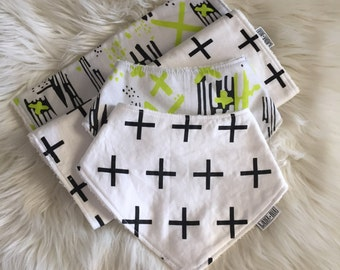 Baby Gift Set - ORGANIC COTTON / Bamboo Terry Baby Burp Cloths & Bibs. Black Crosses