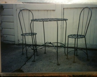 Items Similar To Vintage Metal Bistro Set 2 Chairs And
