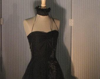 Mini black polyester/silk dress
