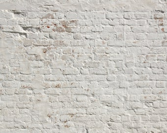 White Washed Brick Peel and Stick Wallpaper #127 / Adhesive Vinyl Wallpaper / Pattern WallScape / Removable Wallpaper / Custom Wall Mural