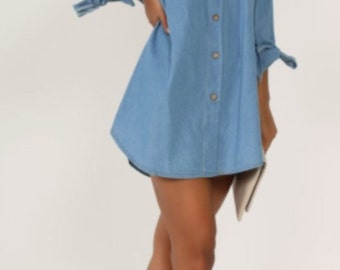Womens bardot buttoned denim dress