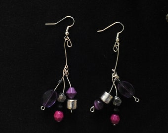 Unique Beaded Purple and Silver Dangle Drop Earrings
