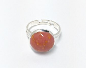 Flower petal jewelry, handmade, silver plated, adjustable keepsake ring