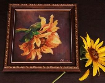 Oil painting of sunflower, Interior art painting of sunflower