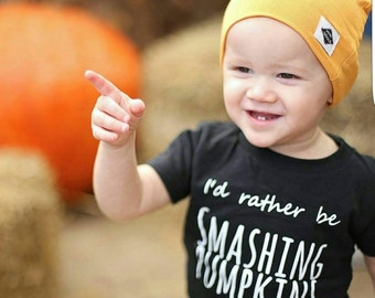 I'd Rather Be Smashing Pumpkins Baby Band Tee shirt cool baby boy clothes toddler fashion trendy edgy punk rock and roll fall outfit