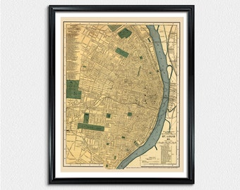 St. Louis City Map, map print, map poster, St. Louis poster, vintage city map, vintage poster map, city map poster prints
