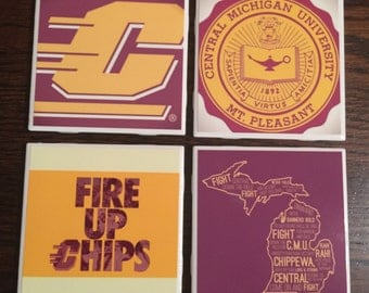 Set of 4 Central Michigan University Coasters