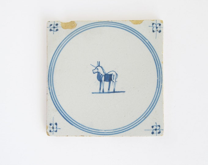 Antique unicorn tile, rare vintage Dutch blue and white wall tile, wall decor, mythological beast collectible