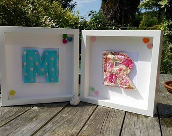 Fabric Letter, Numbers and Shapes - comes in box frame