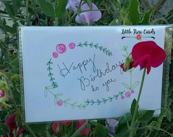 Happy Birthday to You, Happy Birthday, Happy Birthday Card, Floral Card, Flowers, Card for Her, Blank Card, Greetings Card