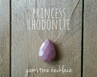 Rhodonite Necklace - Princess Necklace, Pink Necklace, Faceted Teardrop, Floating Gemstone, Simple Necklace, Dainty Necklace, Barely There