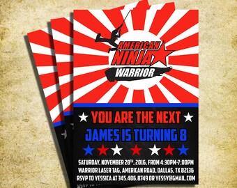American Ninja Warrior Invitation - American Ninja Warrior Chalkboard Birthday Party Invite - Printable And Digital File