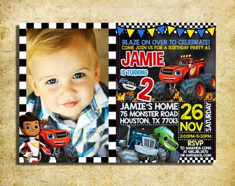 Blaze And The Monster Machines Invitation - Blaze Chalkboard Birthday Invite With Photo - Printable And Digital File