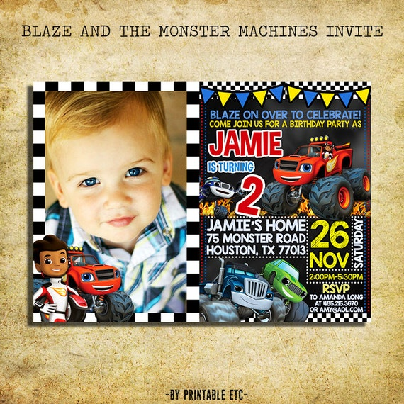 Blaze And The Monster Machines Invitation Blaze Chalkboard