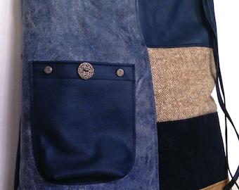 Large Blue Vegan-canvas Shoulder Bag,Messenger Bag, Durable Cross Body Bag, Vegan Handbag, Fabric Leather  Bag, Women Faux Leather Bag