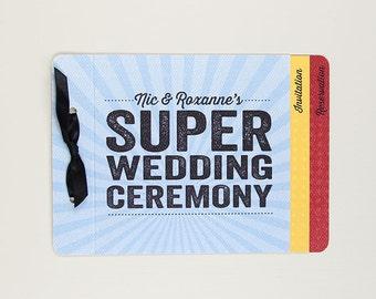 Super Hero Wedding 3pg Livret Wedding Invitation Booklet With RSVP Postcard  And Envelope // Superhero