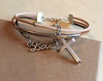 String Bracelet triple Silver