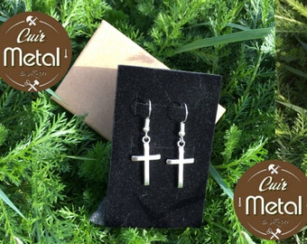 "Earrings ""Cross"" Bronze and silver"