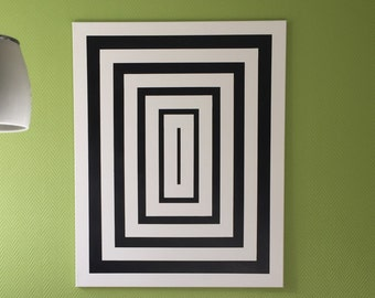 Geometric rectangles of canvas, with optical illusion