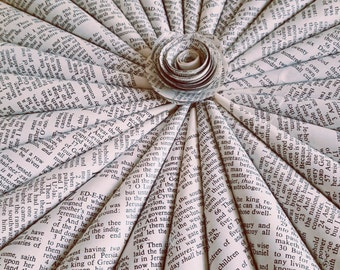 Upcycled Rescued Bible Book Wreath with Rosette Center