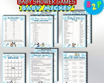 Mickey Mouse Baby Shower Games, Printable Baby Shower Games Package, Baby Mickey Mouse Games Pack, Shower Set Games, Instant Download - bm1