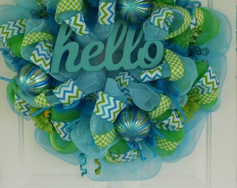 Teal and Green Hello Wreath
