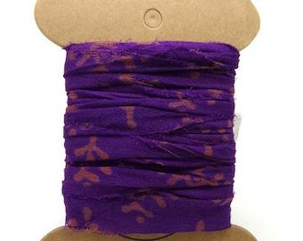 "Ribbon silk sari to purple pattern ""SI0197"""