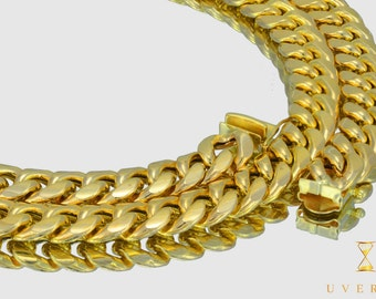 """10mm 10K Semi-Solid Yellow Gold Miami Cuban Link Men's Chain Necklace 16""""-32"""" inches"""