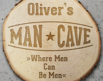 Door Sign - Wooden Tree Slice – Man Cave – Personalised with Name - Gifts for Him
