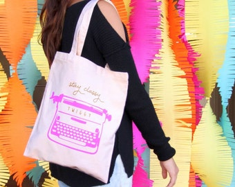 Twiggy - Stay Classy Typewriter Tote