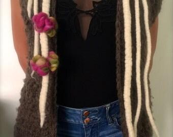 Waistcoat without sleeves in wool 100% sheep, application in fleece