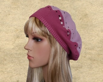 Womens spring beret, Women's knit beret, Knit slouchy hats, Light weight beret, Pink knit beanie, Beret knit lady, Ladies trendy beret