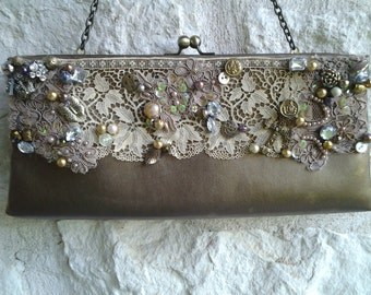 Ladies Taupe Shabby Chic Clutch Purse or womens evening  bag with real Antique Lace, Buttons & Beads