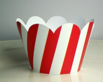 Red & White Stripe Cupcake Wrappers • Special Occasions • Birthday party and baby shower decor- (set of 12+)  Wrap your cupcakes in style!