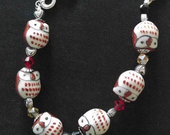 Porcelain Owl Earrings with Swarovski Crystals
