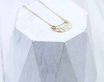 Half moon crescent Necklace Silver 925 gold plated