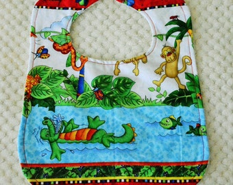 Animal print baby bib, Jungle Bib, Jungle Baby, Boys Bib, Crocodile Bib, Monkey Bib, Baby Gift