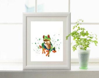 Frog Art Print, Printable Toad Artwork - Watercolor frog art, Tree frog art, Frog painting, Toad artwork, Toad painting, Frog printable