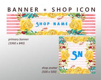 Custom Etsy Banner Set - Yellow Etsy Banner / Floral Etsy Banner, Flower Etsy Banner Set. Pink Etsy Set, Shop Banner and Avatar