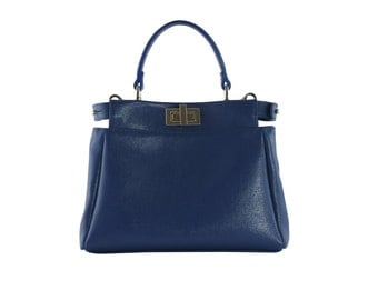 Small blue saffiano leather handbag with shoulder strap
