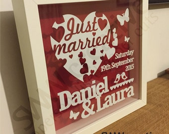 Personalised Wedding Framed Paper Cut Gift  |  Bespoke Design  |  Just Married  |  250 x 250mm