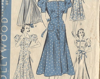 "1940s Vintage Sewing Pattern B38"" DRESS, HOUSE or BEACHCOAT (R552) Hollywood 1554"