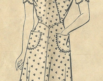 "1940s Vintage Sewing Pattern DRESS B36"" (R195) By 'Marian Martin' 9311"