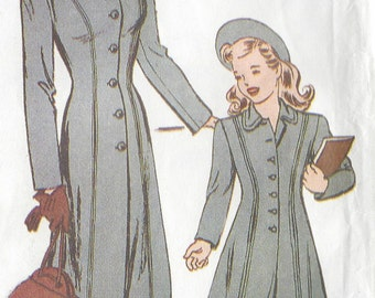 1944 Vintage Sewing Pattern SIZE:6-8-10-12-14-16 COAT Misses & Child (70) Butterick 6758