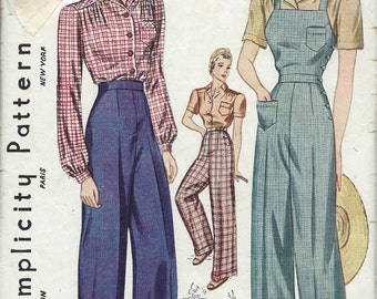 1940 Vintage Sewing Pattern B44-W38 BLOUSE-TROUSERS-OVERALLS (1230)  Simplicity 3322