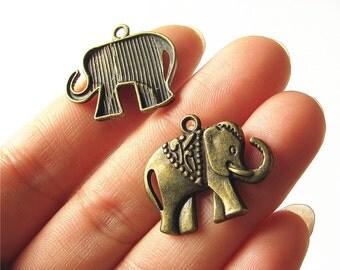 Elephant Charm Pendant Antique Brass Drop Handmade Jewelry Finding 21x25mm 6 pcs