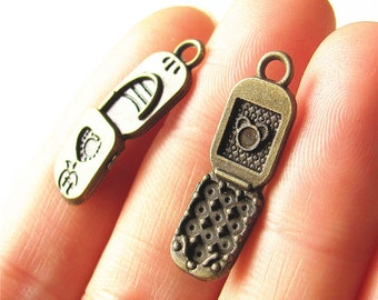 Cell Phone Charm Pendant Antique Brass Drop Handmade Jewelry Finding 8x26mm 6 pcs