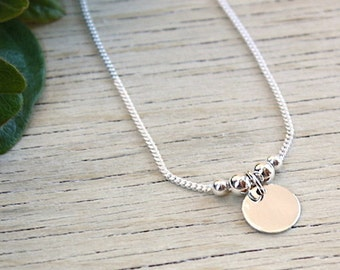Necklace pearls and medal on chain bracelet in sterling silver