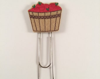 Apple basket giant paper clip, planner clip, apple paperclip, planner paperclip, planner accessory, apple basket bookmark, fall paperclip